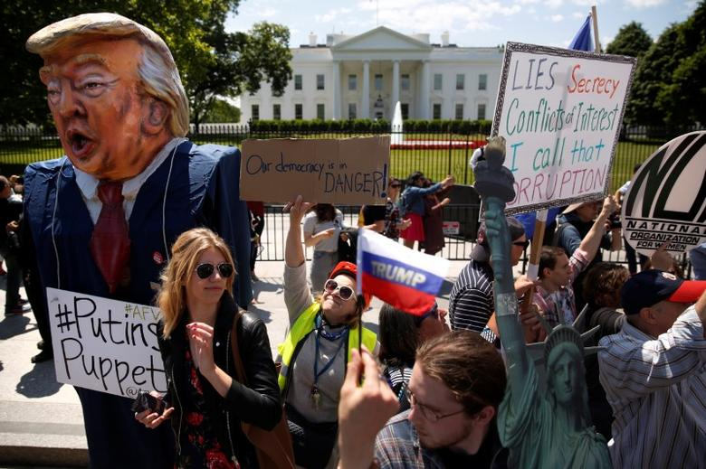 Protesters outside the White House. REUTERS/Jonathan Ernst