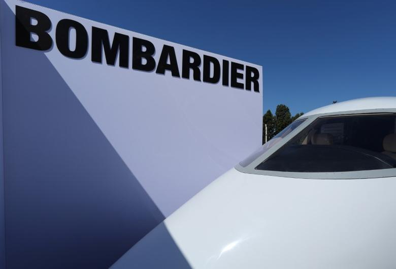 The fuselage of a Bombardier 350 Challenger jet is seen on display for attendees to view at the Milken Institute Global Conference in Beverly Hills, California, U.S., May 2, 2017. REUTERS/Mike Blake/Files