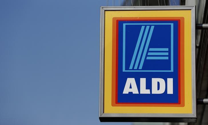 A company logo is pictured outside a branch of an Aldi supermarket in Manchester, Britain, March 17, 2016. REUTERS/Phil Noble/File Photo