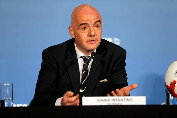 FIFA President Gianni Infantino speaks at press conference after the 67th FIFA Congress in Manama, Bahrain May 11, 2017. REUTERS/Hamad I Mohammed