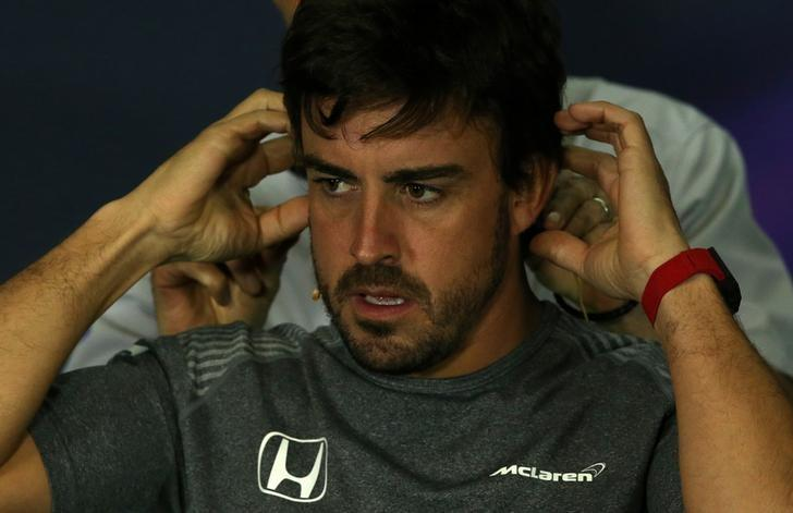 Formula One - F1 - Spanish Grand Prix - Barcelona-Catalunya racetrack, Montmelo Spain - 11/05/17 - McLaren's Fernando Alonso attends a news conference. REUTERS/Albert Gea
