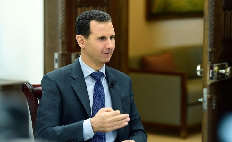 Syria's President Bashar al-Assad speaks during an interview with RIA Novosti and Sputnik in this handout picture provided by SANA on April 21, 2017, Syria. SANA/Handout via REUTERS