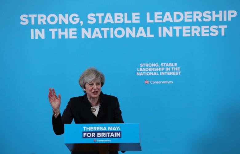 Britain's Prime Minister Theresa May speaks at a campaign event in North Tyneside, Britain May 12, 2017. REUTERS/Scott Heppell