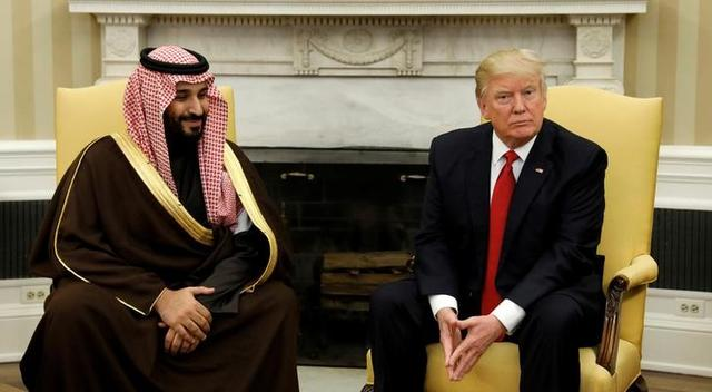 U.S. President Donald Trump meets with Saudi Deputy Crown Prince and Minister of Defense Mohammed bin Salman in the Oval Office of the White House in Washington, U.S., March 14, 2017. REUTERS/Kevin Lamarque