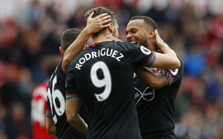 Britain Football Soccer - Middlesbrough v Southampton - Premier League - The Riverside Stadium - 13/5/17 Southampton's Jay Rodriguez celebrates scoring their first goal with team mates  Reuters / Phil Noble