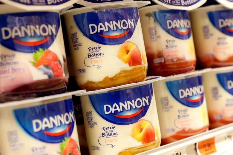 Containers of Danone's Dannon Yogurt are displayed in a supermarket in New York City, U.S., February 15, 2017. REUTERS/Brendan McDermid - RTSYVX3