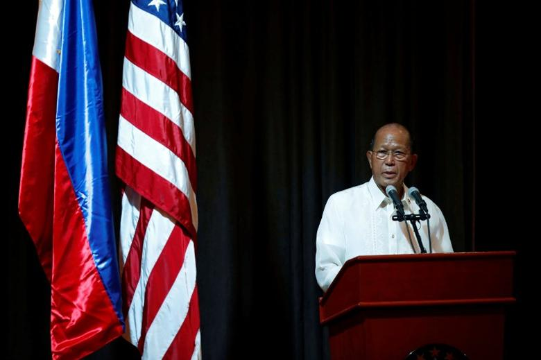 FILE PHOTO: Philippine Defence Secretary Delfin Lorenzana speaks during the opening ceremony of Philippines and U.S. military  joint exercises called Balikatan (Shoulder to Shoulder), focusing on humanitarian and disaster response at Camp Aguinaldo in Quezon city, Metro Manila, Philippines May 8, 2017.  REUTERS/Erik De Castro