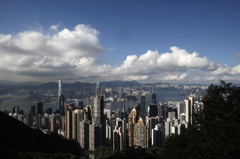 The Hong Kong skyline is seen from the Peak June 18, 2013. Snowden reportedly flew to Hong Kong on May 20.  REUTERS/Bobby Yip