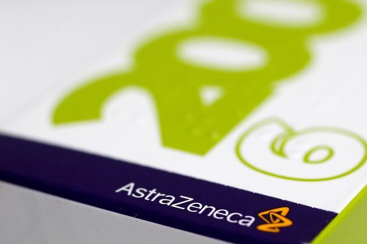 FILE PHOTO: The logo of AstraZeneca is seen on a medication package at a pharmacy in London, Briatan, April 28, 2014.    REUTERS/Stefan Wermuth/File Photo
