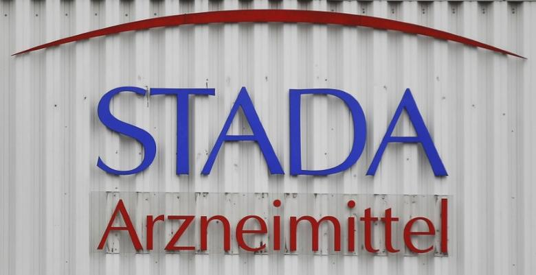 FILE PHOTO: The logo of the pharmaceutical company Stada Arzneimittel AG is pictured at its headquarters in Bad Vilbel near Frankfurt March 14, 2012. REUTERS/Alex Domanski