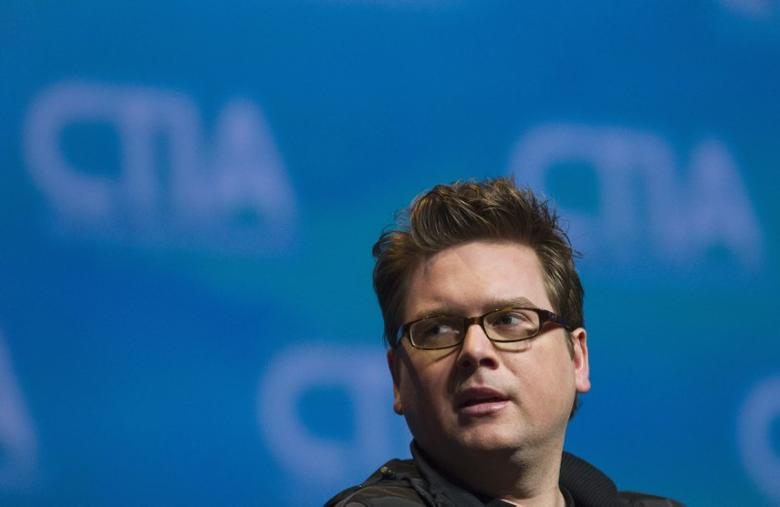 FILE PHOTO: Biz Stone, Twitter co-founder talks during a keynote panel discussion at the International CTIA wireless industry conference in Orlando, Florida March 24, 2011. REUTERS/Scott Audette
