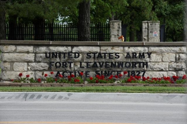 The front gate of U.S. Army base Fort Leavenworth where Chelsea Manning was released earlier this morning, is pictured in Leavenworth Kansas, U.S. May 17, 2017. REUTERS/Nick Oxford