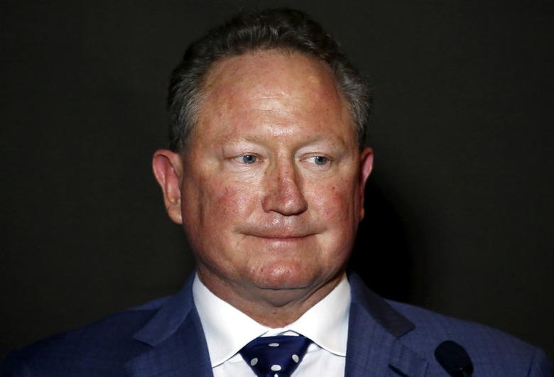 FILE PHOTO - Andrew Forrest, chairman of Fortescue Metals Group, reacts as he listens to a question during a media conference in Sydney, Australia, July 28, 2015. REUTERS/David Gray/File Photo