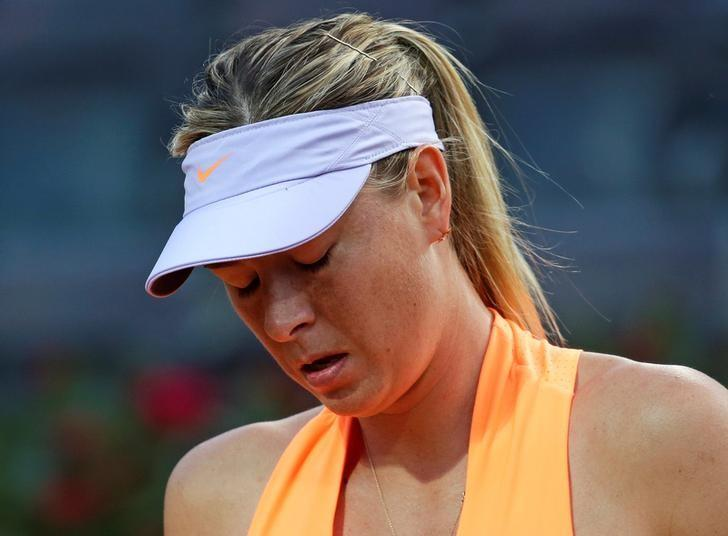 Tennis - WTA - Rome Open - Maria Sharapova of Russia v Mirjana Lucic-Baroni of Croatia - Rome, Italy - 16/5/17- Sharapova reacts during the match. REUTERS/Max Rossi