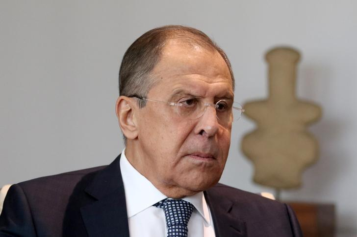 Russian Foreign Minister Sergei Lavrov is seen during a meeting with Foreign Minister Ioannis Kasoulides (not pictured) at the Ministry of Foreign Affairs in Nicosia, Cyprus May 18, 2017. REUTERS/Yiannis Kourtoglou