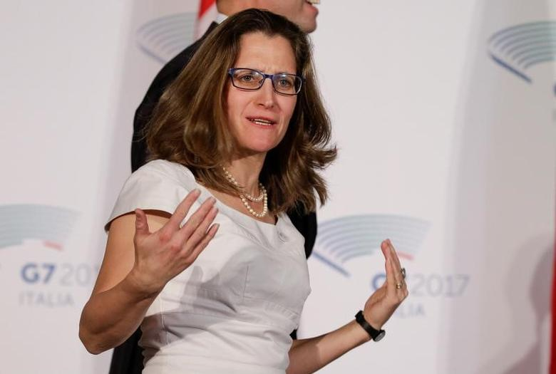 FILE PHOTO: Canada's Foreign Affairs Minister Chrystia Freeland gestures as she arrives to pose for a family photo during a G7 for foreign ministers in Lucca, Italy April 11, 2017. REUTERS/Max Rossi