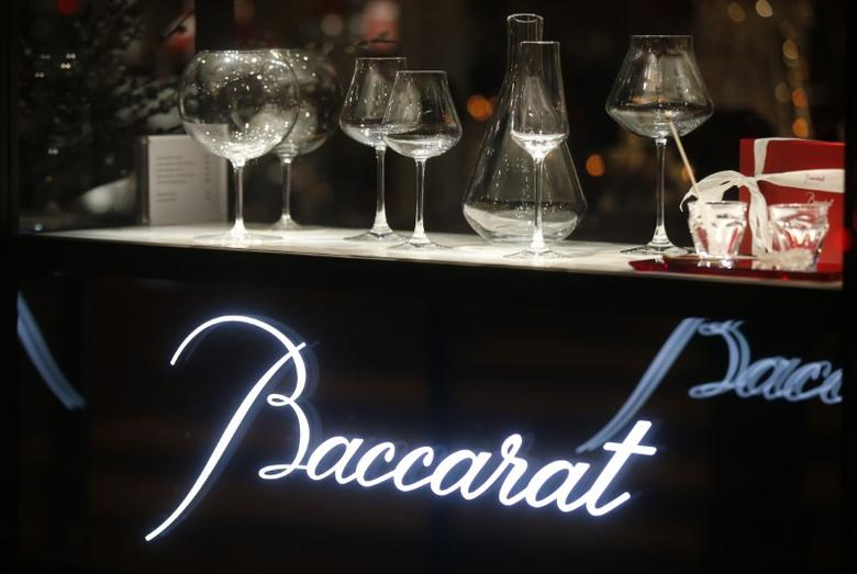 FILE PHOTO: The logo of the Baccarat Crystalworks firm is seen in Paris, France, March 3, 2016.   REUTERS/Jacky Naegelen