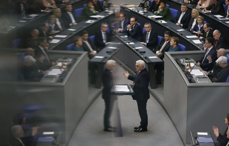 New German President Frank-Walter Steinmeier addresses the Bundestag after the swearing-in ceremony at the lower house of parliament Bundestag in Berlin, Germany, March 22, 2017.      REUTERS/Fabrizio Bensch
