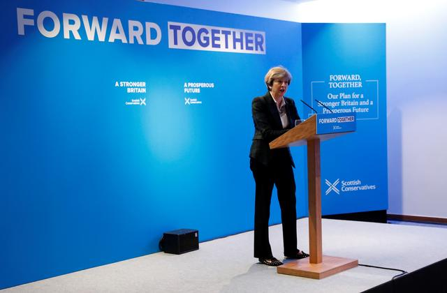 Prime Minister Theresa May gives a speech during the launch of the Scottish Conservative manifesto in Edinburgh, Scotland, Britain May 19, 2017. REUTERS/Russell Cheyne