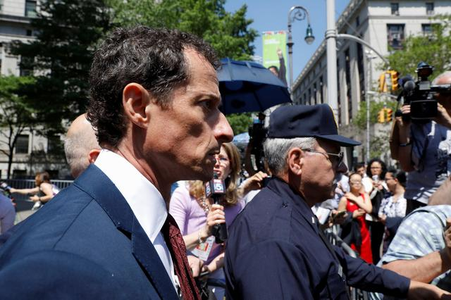 Former U.S. Congressman Anthony Weiner exits U.S. Federal Court in New York City, U.S., May 19, 2017, after pleading guilty to one count of sending obscene messages to a minor, ending an investigation into a ''sexting'' scandal that played a role in last year's U.S. presidential election. REUTERS/Brendan McDermid