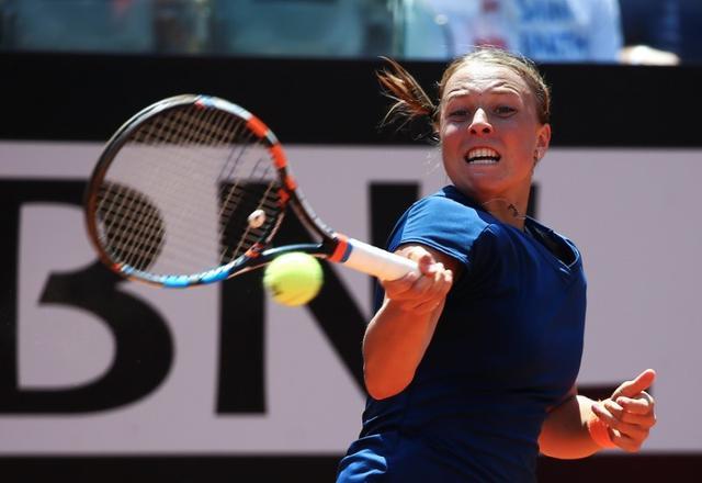 Tennis - WTA - Rome Open - Simona Halep of Romania v Anett Kontaveit of Estonia - Rome, Italy - 19/5/17- Kontaveit returns the ball. REUTERS/Alessandro Bianchi