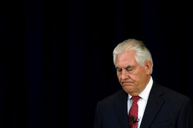 FILE PHOTO: U.S. Secretary of State Tillerson delivers remarks to the...