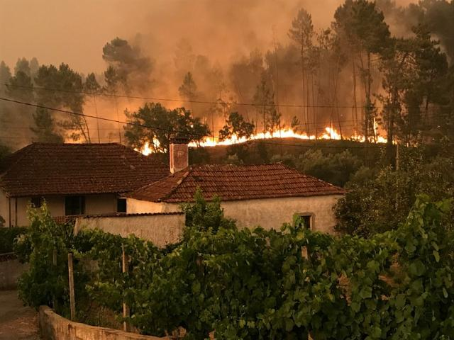 A forest fire approaches houses in the village of Atalaia Cimeira near Pedrogao Grande, central Portugal June 18, 2017. REUTERS/Guillermo Martinez