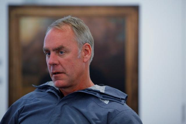 U.S. Interior Secretary Ryan Zinke is interviewed by Reuters, while traveling for his National Monuments Review process, in Boston, Massachusetts, U.S., June 16, 2017.  REUTERS/Brian Snyder