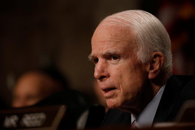 FILE PHOTO: Sen. John McCain (R-AZ) asks a question as U.S. Defense Secretary James Mattis and Chairman of the Joint Chiefs of Staff Gen. Joseph Dunford (unseen) testify before the Senate Armed Services Committee on Capitol Hill in Washington, D.C., U.S., June 13, 2017. REUTERS/Aaron P. Bernstein