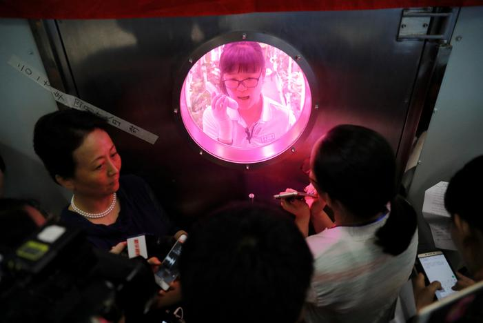 A volunteer answers reporters' questions from inside a simulated space cabin in which she temporarily lives with others as a part of the scientistic Lunar Palace 365 Project, at Beihang University in Beijing, China July 9, 2017. Damir Sagolj