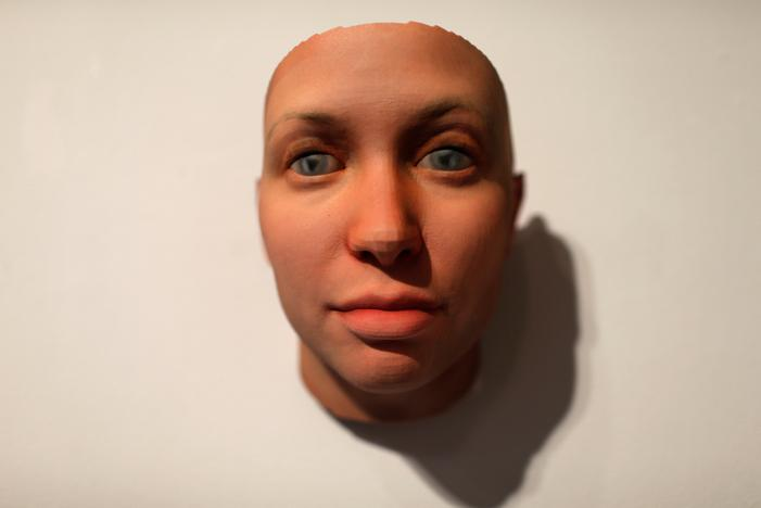 A 3-D printed mask created by Artist Heather Dewey-Hagborg from DNA extracted from cheek swabs and hair clippings she received from formerly imprisoned U.S. Army Private Chelsea Manning while she was in jail, is pictured ahead of the August 2, 2017 opening of 'A Becoming Resemblance', an exhibition at the Fridman gallery in New York City, July 7, 2017. Mike Segar