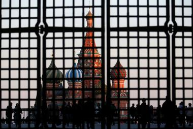 FILE PHOTO:St. Basil's Cathedral is seen through a gate in Red Square in...