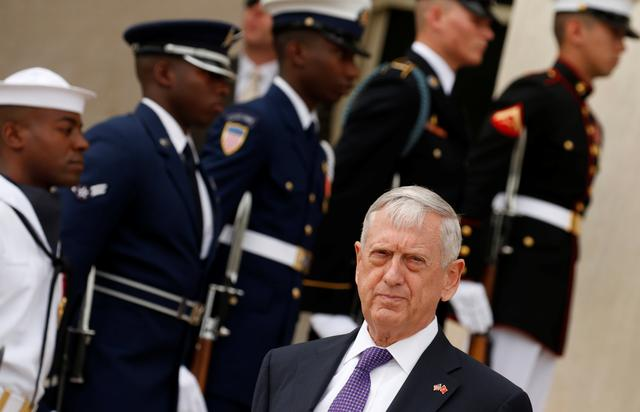 U.S. Defense Secretary Jim Mattis awaits the arrival of Vietnamese Defense Minister Gen. Ngo Xuan Lich at the Pentagon in Arlington, Virginia, U.S., August 8, 2017. REUTERS/Kevin Lamarque