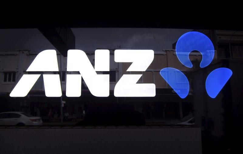The logo of Australia and New Zealand Banking Group Ltd (ANZ) is pictured on a local branch in Sydney in this April 30, 2014 file photo.  David Gray