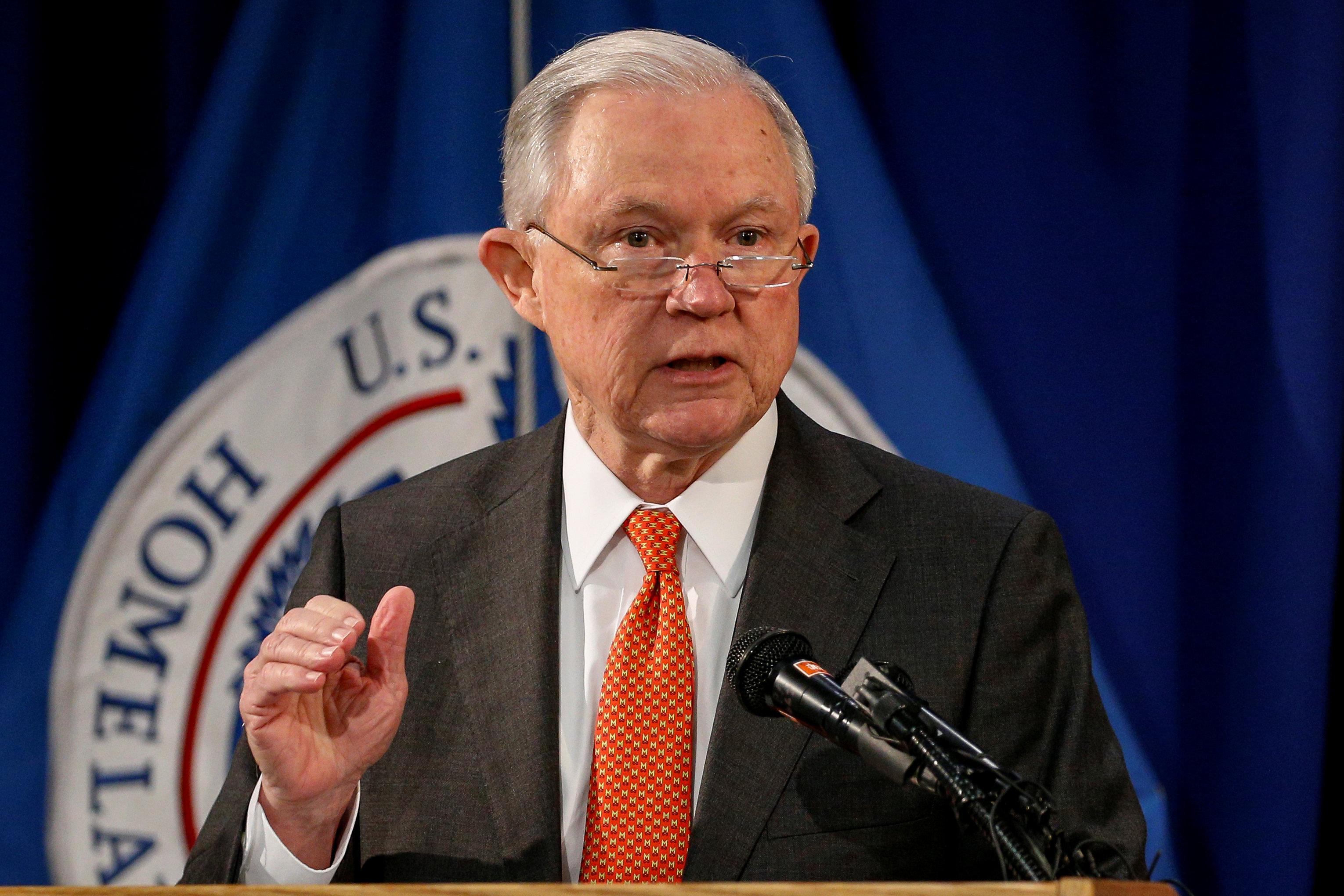 U.S. Attorney General Jeff Sessions speaks about the Trump Administration efforts to combat the opioid crisis at John F. Kennedy International Airport in New York City, New York, U.S., October 27, 2017. Brendan McDermid