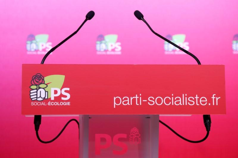 The podium is seen before a news conference at the French Socialist Party rue de Solferino headquarters in Paris, France, September 20, 2017. Public support for the former ruling party has dropped to the single digits. Charles Platiau
