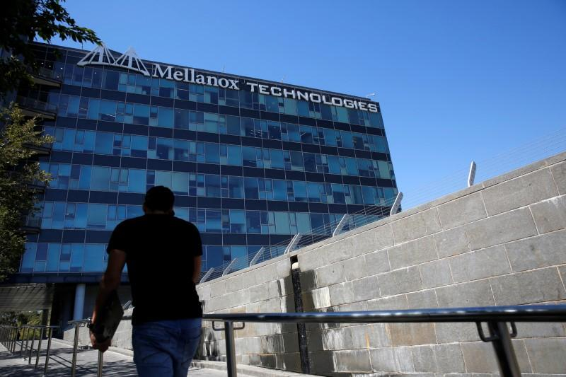 The logo of Mellanox Technologies is seen at the company's headquarters in Yokneam, in northern Israel July 26, 2016. Picture taken July 26, 2016. Ronen Zvulun
