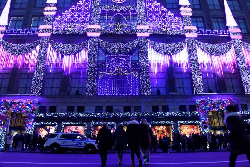 Saks Fifth Avenue's holiday light show can be seen on display in the Manhattan borough of New York, U.S., November 27, 2016. Darren Ornitz