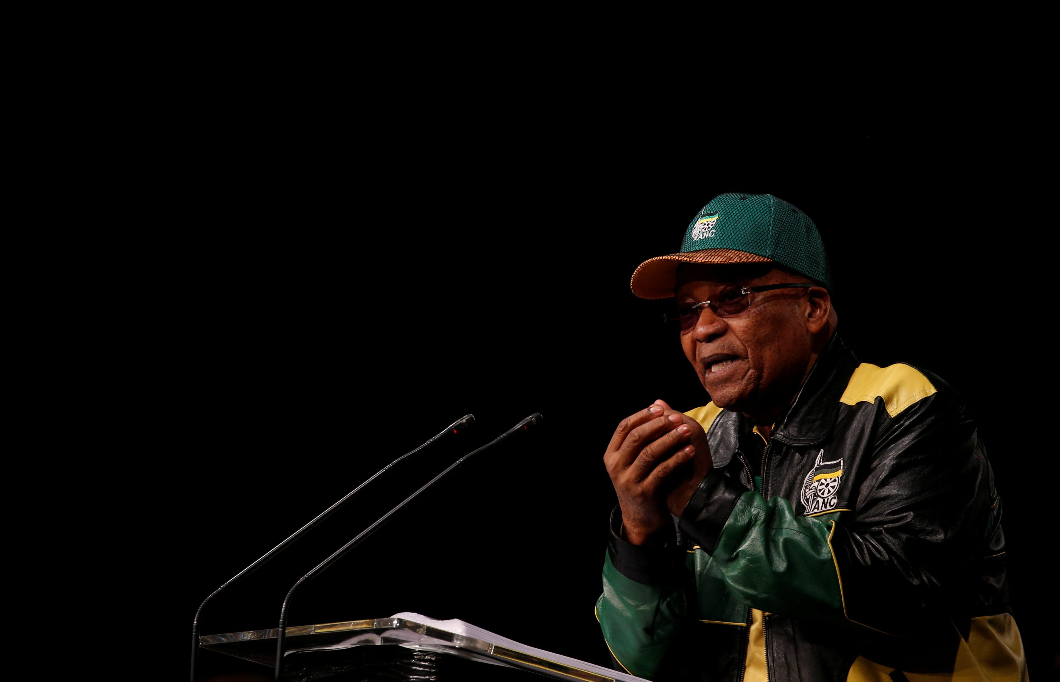 South Africa's President Jacob Zuma gestures during the last day of the six-day meeting of the African National Congress 5th National Policy Conference at the Nasrec Expo Centre in Soweto, South Africa, July 5, 2017. Siphiwe Sibeko