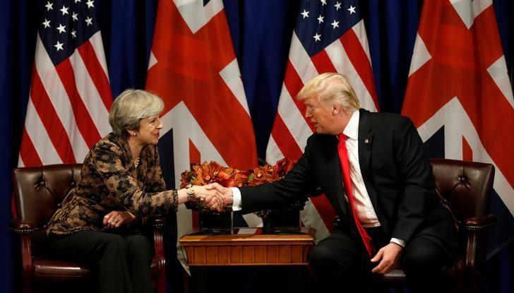U.S. President Donald Trump meets with British Prime Minister Theresa May during the U.N. General Assembly in New York, U.S., September 20, 2017. Kevin Lamarque