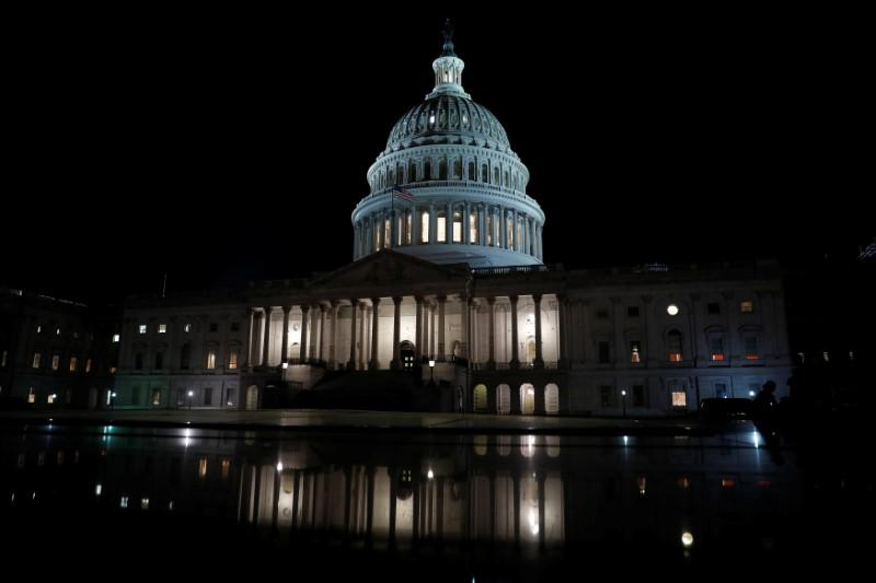 The United States Capitol is seen at night on Capitol Hill in Washington, U.S., July 27, 2017. Aaron P. Bernstein