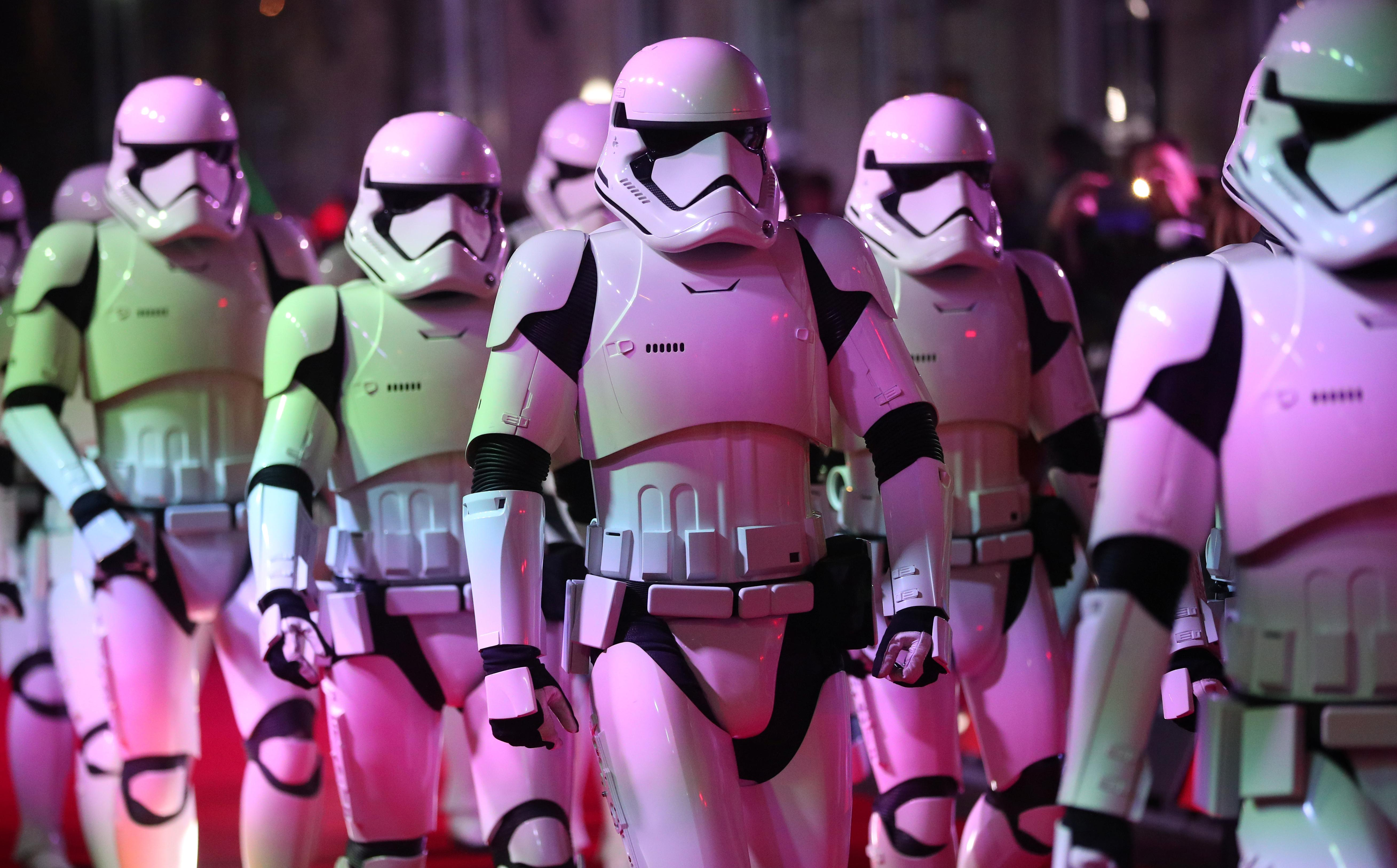 Actors dressed as storm troopers arrive for the European Premiere of 'Star Wars: The Last Jedi', at the Royal Albert Hall in central London, Britain December 12, 2017. Hannah McKay