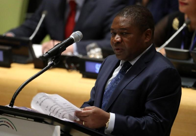 President Filipe Nyusi of Mozambique speaks at a high-level meeting on addressing large movements of refugees and migrants at the United Nations General Assembly in Manhattan, New York, U.S. September 19, 2016. Carlo Allegri