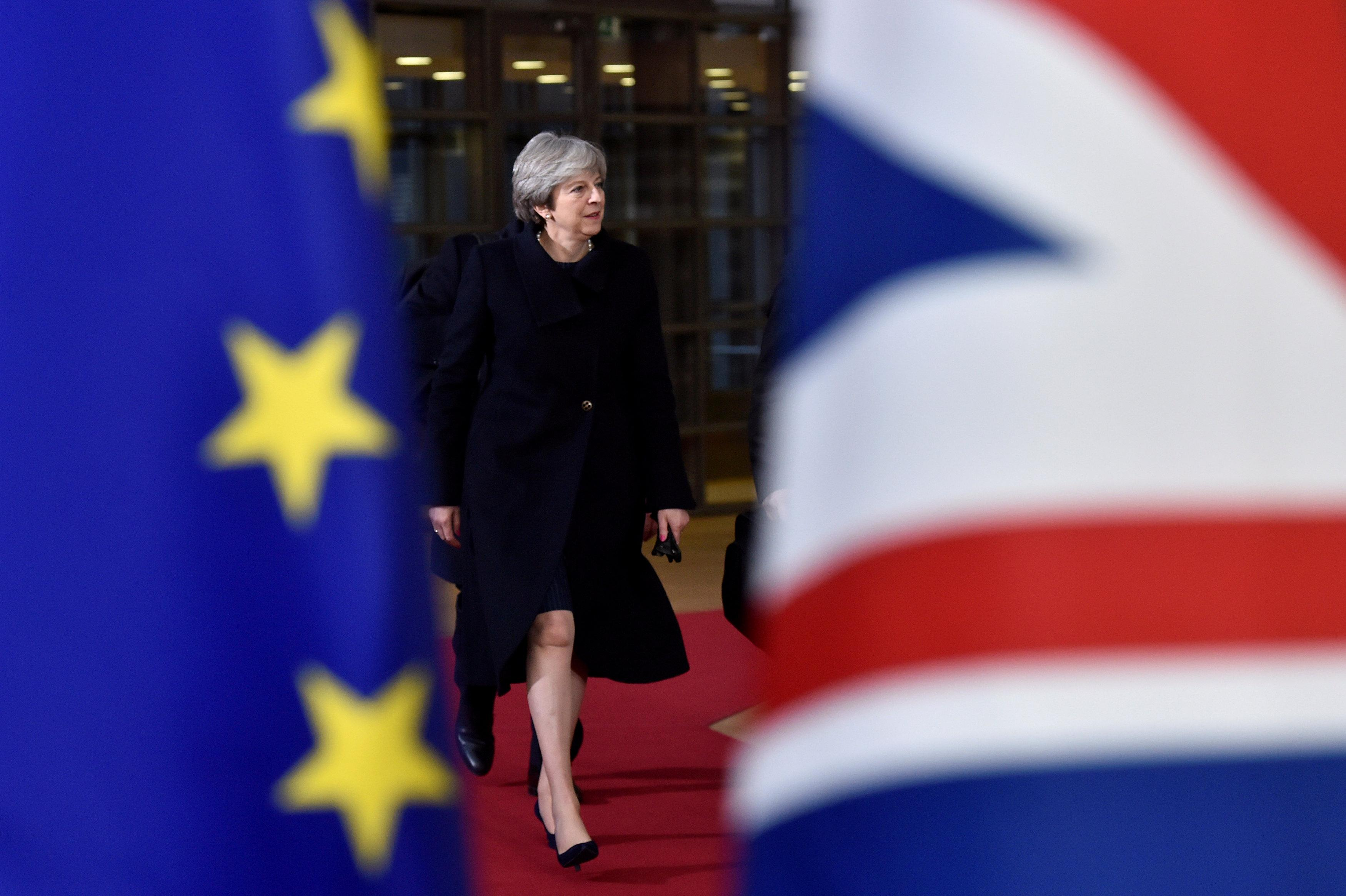 British Prime Minister Theresa May arrives for the EU summit in Brussels, Belgium, December 14, 2017. Eric Vidal