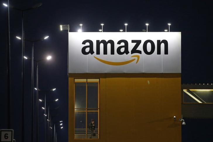 The logo of Amazon is seen at the company logistics center in Lauwin-Planque, northern France, February 20, 2017. Pascal Rossignol