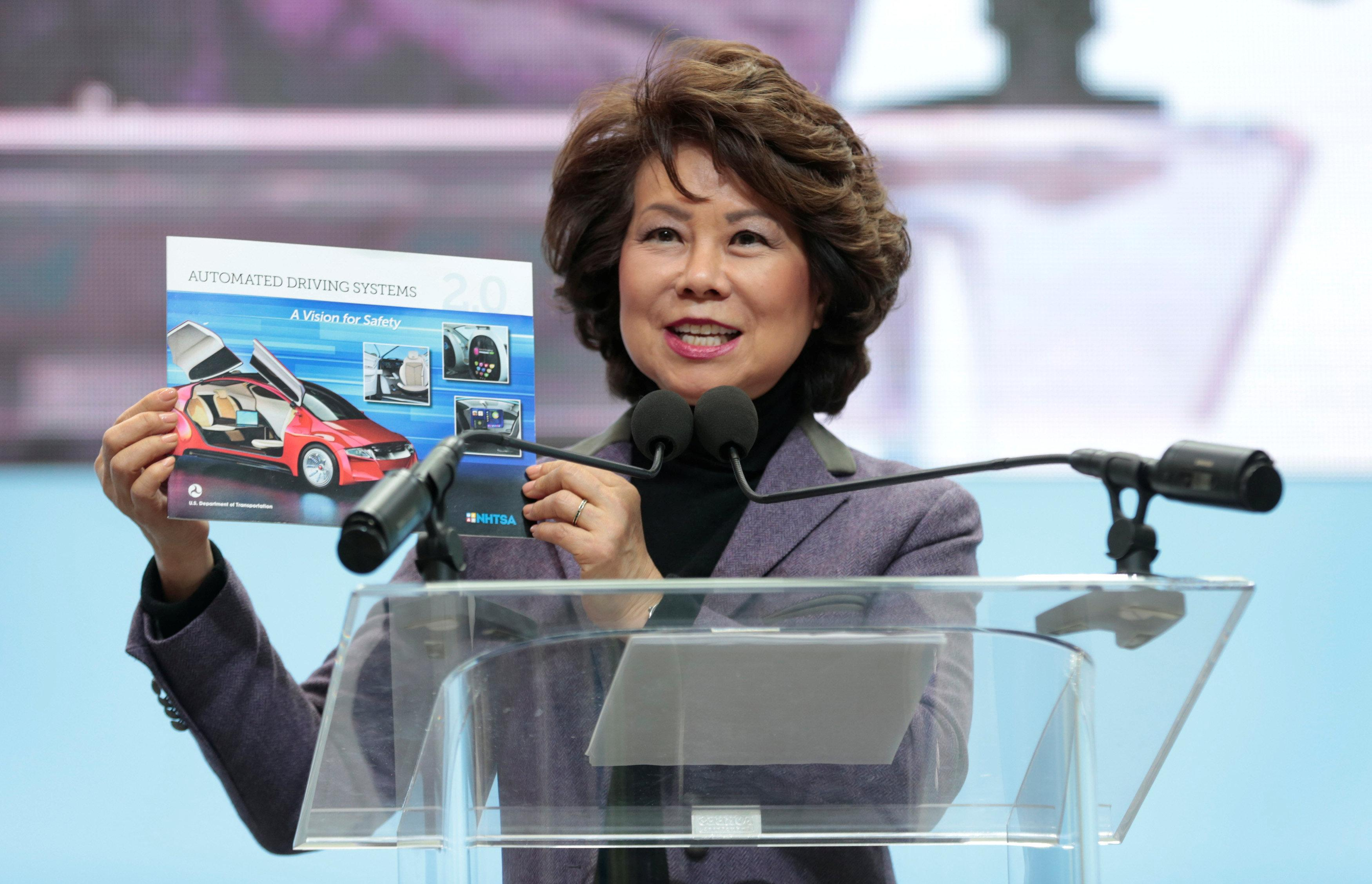 U.S. Secretary of Transportation Elaine Chao speaks ahead of Press Days of the North American International Auto Show at Cobo Center in Detroit, Michigan, U.S., January 14, 2018. Rebecca Cook