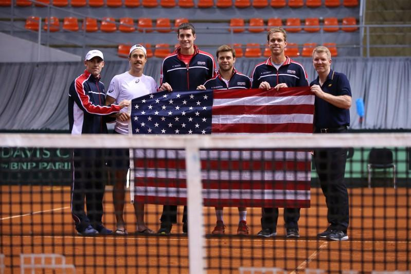 Tennis - Davis Cup - World Group First Round - Serbia v United States - Sportski Centar Cair, Nis, Serbia - February 3, 2018  U.S. Davis Cup team poses for a picture after their win over Serbia. Marko Djurica