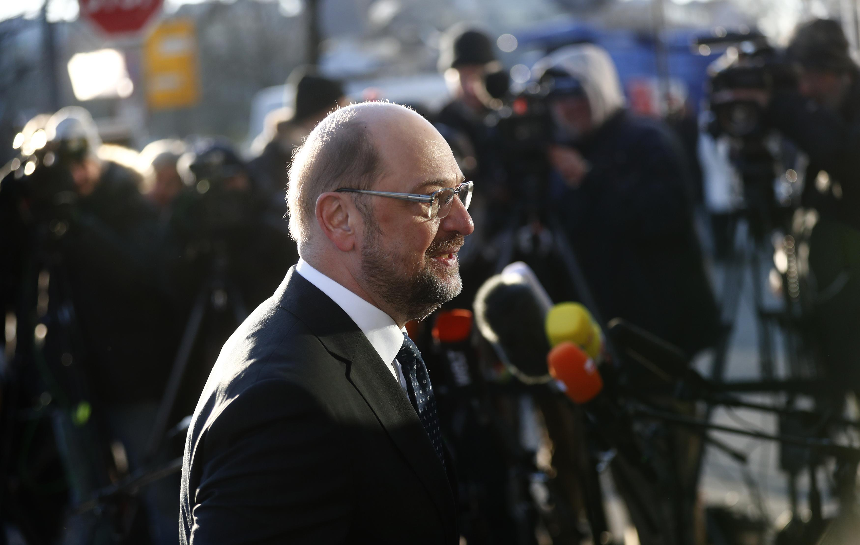 Social Democratic Party (SPD) leader Martin Schulz arrives for coalition talks at the Christian Democratic Union (CDU) headquarters in Berlin, Germany, February 6, 2018. Hannibal Hanschke