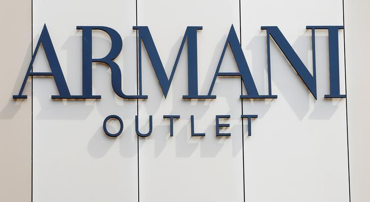 The Armani logo is seen on an outlet store in Metzingen, Germany, June 16, 2017.  Michaela Rehle