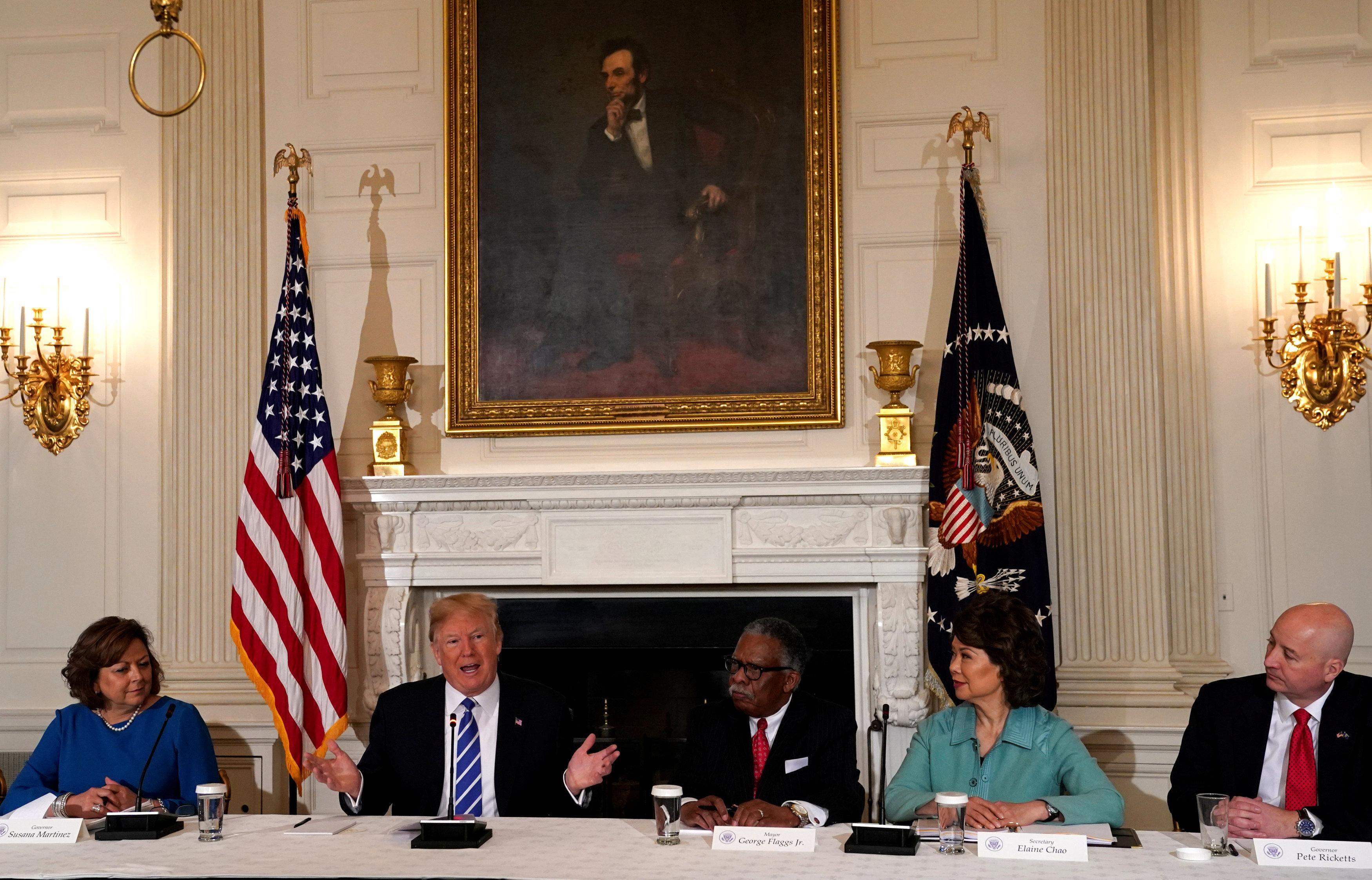 U.S. President Donald Trump holds a meeting on his infrastructure initiative at the White House in Washington, U.S., February 12, 2018. Kevin Lamarque